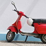 Red Vespa Scooter By Wall Poster