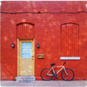 Red Wall White Bike Poster