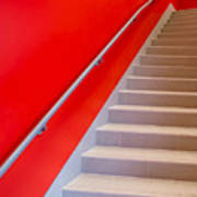 Red Walls Staircase Poster