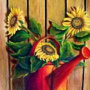 Red Watering Can With  Sunflowers.  Sold Poster