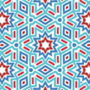Red White And Blue Fireworks Pattern- Art By Linda Woods Poster