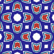 Red White And Blue Tulips Pattern- Art By Linda Woods Poster