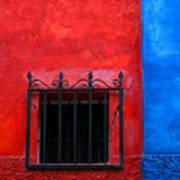 Red Window With Blue By Darian Day Poster