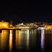 Reflecting On Malta - Cruising Out Of Valletta Grand Harbour Poster