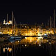 Reflecting On Malta - Senglea Golden Night Magic Poster