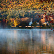 Reflection Of Little White Church With Fall Foliage Poster