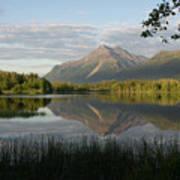 Reflections Lake Pioneer Peak Alaska Poster