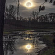 Reflections Of A Super Moon Poster