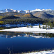 Reflections Of Pikes Peak In Crystal Reservoir Poster