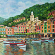 Reflections Of Portofino Poster by Charlotte Blanchard