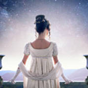 Regency Woman Looking At The Stars In The Night Sky  Poster