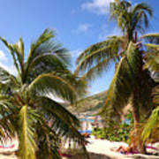 Relaxing On The Beach. Pinel Island Saint Martin Caribbean Poster