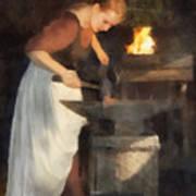 Renaissance Lady Blacksmith Poster