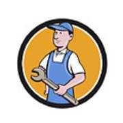 Repairman Holding Spanner Circle Cartoon  Poster