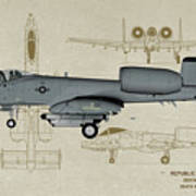 Republic A-10 Thunderbolt II - Profile Art Poster