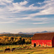 Red Barn Autumn Landscape Poster