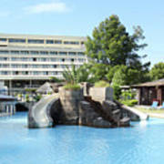 Resort With Swimming Pool Summer Vacation Scene Poster