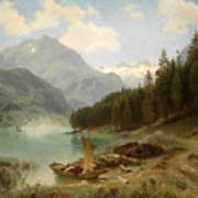 Resting By The Mountain Lake Poster