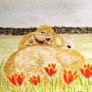 Resting In The Tulips Poster