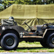 Restored Willys Jeep And Tent At Fort Miles Poster