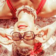 Retro 50s Beach Pinup Girl Poster