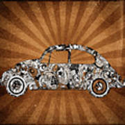 Retro Beetle Car Poster