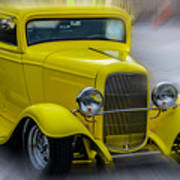 Retro Car In Yellow Poster
