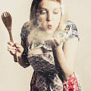 Retro Cooking Woman Giving Recipe Kiss Poster