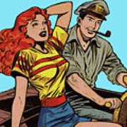 Retro Couple On Boat Comic Style Poster