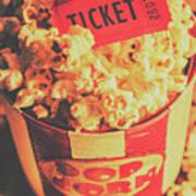 Retro Film Stub And Movie Popcorn Poster