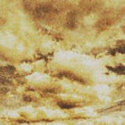 Retro Grunge Cloudy Sky Background Poster