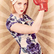 Retro Pinup Boxing Girl Fist Pumping Glove Hand  Poster
