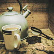Retro Vintage Toned Tea Still Life In Crate Poster