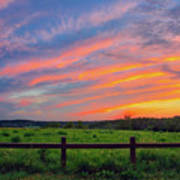 Retzer Nature Center - Summer Sunset Over Field And Fence Poster