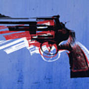Revolver On Blue Poster