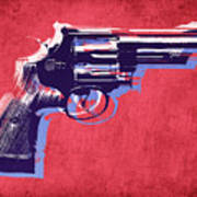Revolver On Red Poster by Michael Tompsett