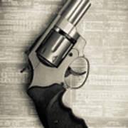 Revolver Pistol Gun Over Drawings Poster