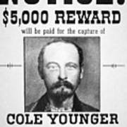 Reward Poster For Thomas Cole Younger Poster