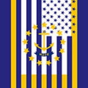 Rhode Island State Flag Graphic Usa Styling Poster
