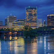 Richmond Skyline Above James River At Night 11972 Poster