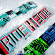 Ride In Powder Snowboard Graphics In The Snow Poster by Andy Smy