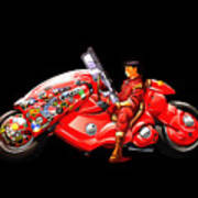 Rider On Red Motorbike Poster
