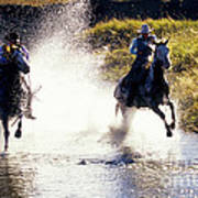 Riders In A Creek Poster