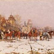 Riders Outside A Village In A Winter Landscape Poster