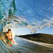 Riding Barrel At Makena Poster
