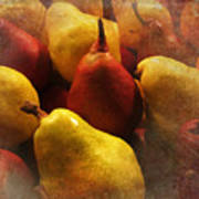 Ripe Pears And Two Persimmons Poster