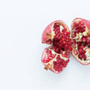Ripe Pomegranate Fruit On A White Background Poster