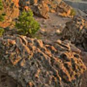 Ripple Boulders At Sunset In Bentonite Quarry Poster