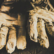 Rising Mummy Hands In Bandage Poster