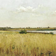River Landscape With Cornfield Poster